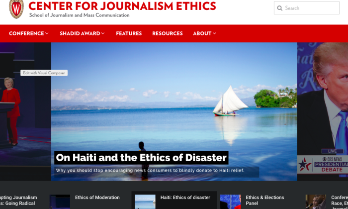 screenshot of Center for Journalism Ethics site